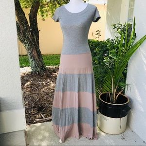 GAP stretch maxi dress T-shirt XS Gray tan stripe